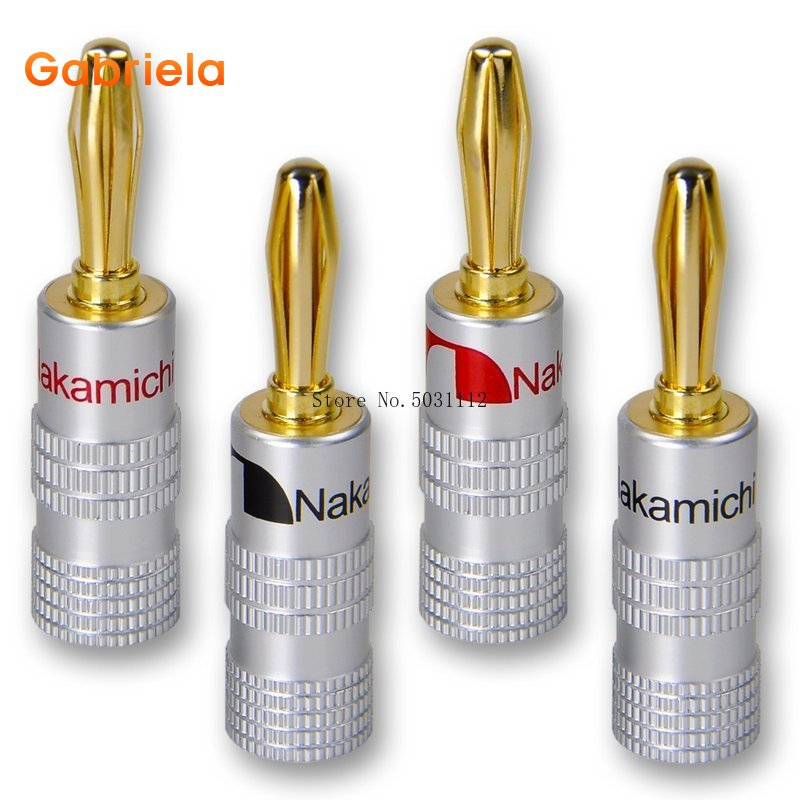 4pcs/8pcs Banana Connector 4mm Speaker Banana Plugs 24K Copper Gold Plated 4mm Banana Jack Match With 4mm Binding Post