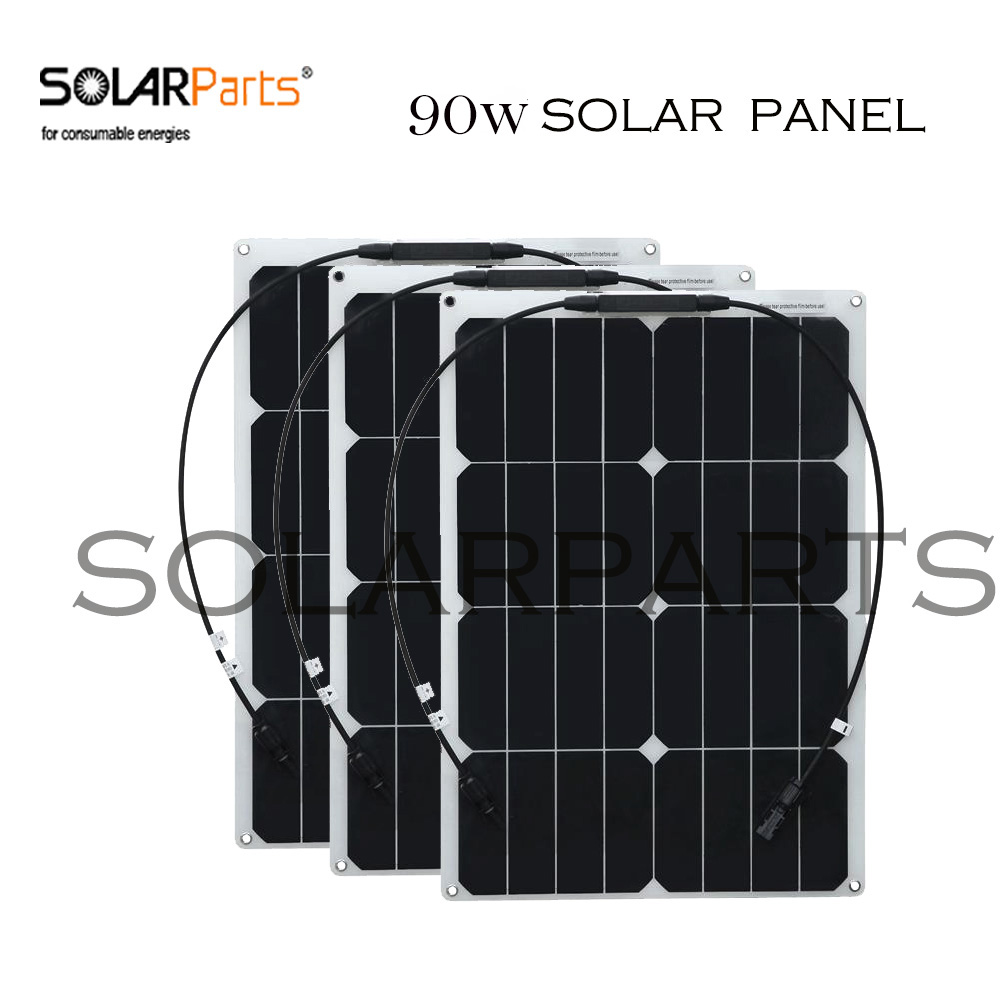 BOGUANG 3pcs 30W semi- flexible solar panel solar module for RV Boat Yachts Home with junction box MC4 connector solarparts 2x 180w flexible solar panel cell system diy kits 12v for rv boat home front junction box mc4 connector 125 125mm sun