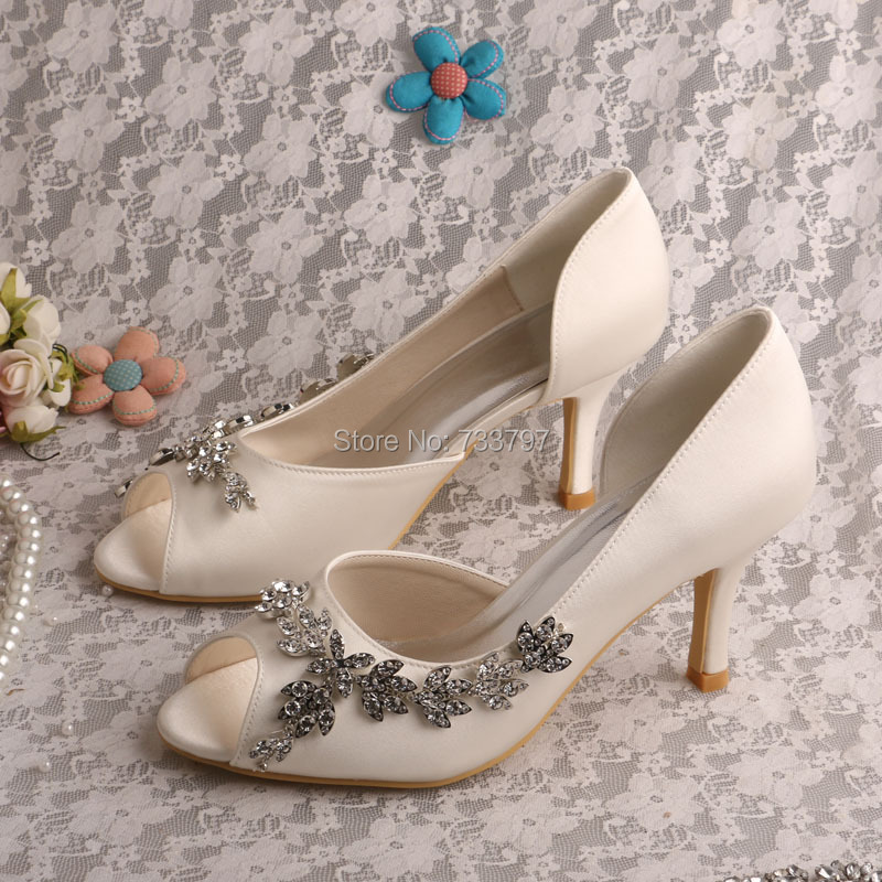 Wedopus Custom Bridal Shoes Satin Rhinestone Pumps Ladies Open Toe Heels Dropship