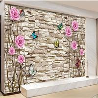 Custom 3D Print DIY Fabric Textile Wallcoverings For Walls Murals Matt Silk For Living Room Flowers