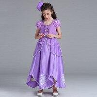 Children Girls Printing Dress Beauty Clothing Purple Princess Dresses Christmas Costumes Long Dresses Lantern Sleeve