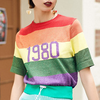 2018 Summer Harajuku Rainbow Striped Knitted Tunic T Shirts Women Tops tshirts Female Korean Style Streetwear T Shirt Clothing