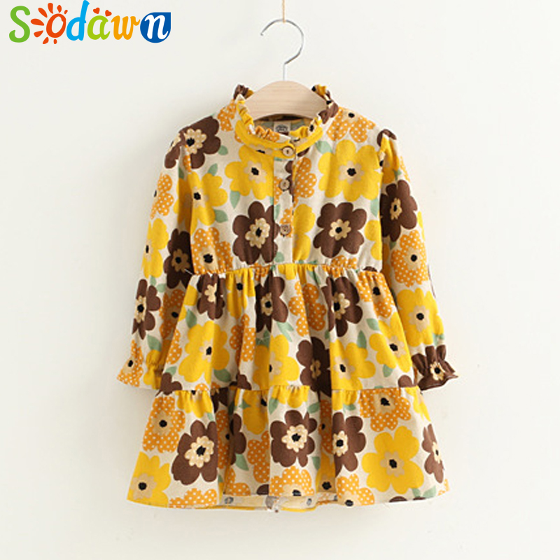Sodawn 2017 Autumn Girl Clothes Floral Pattern Long Sleeve Dress Baby Girls Princess Dress Fashion Sweet Children Clothing