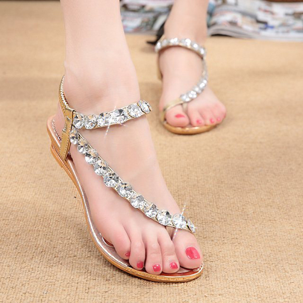 Woman Summer Sandals Rhinestone Flats Platform Wedges Shoes Ladies Casual Beach Flip Flops Shoes for Women 2017 phyanic summer gladiator sandals beach platform shoes woman wedges sandals slip on flats creepers casual women shoes phy3337