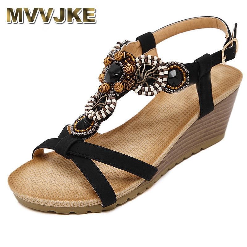 MVVJKE Wedges Beach Sandalias Ladies Sandalet Fringe Middle High Heels Sandals fringe detail beach sandals