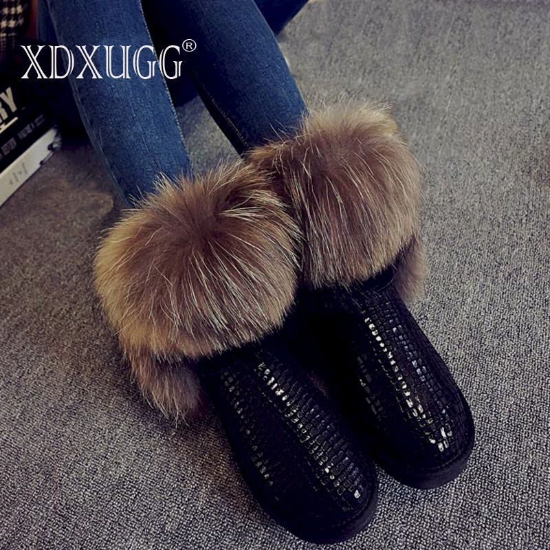 2018 New Fashion Women's Natural Real Fox Fur Snow Boots 100% Genuine Leather women Boots Female Winter Shoes Free shipping
