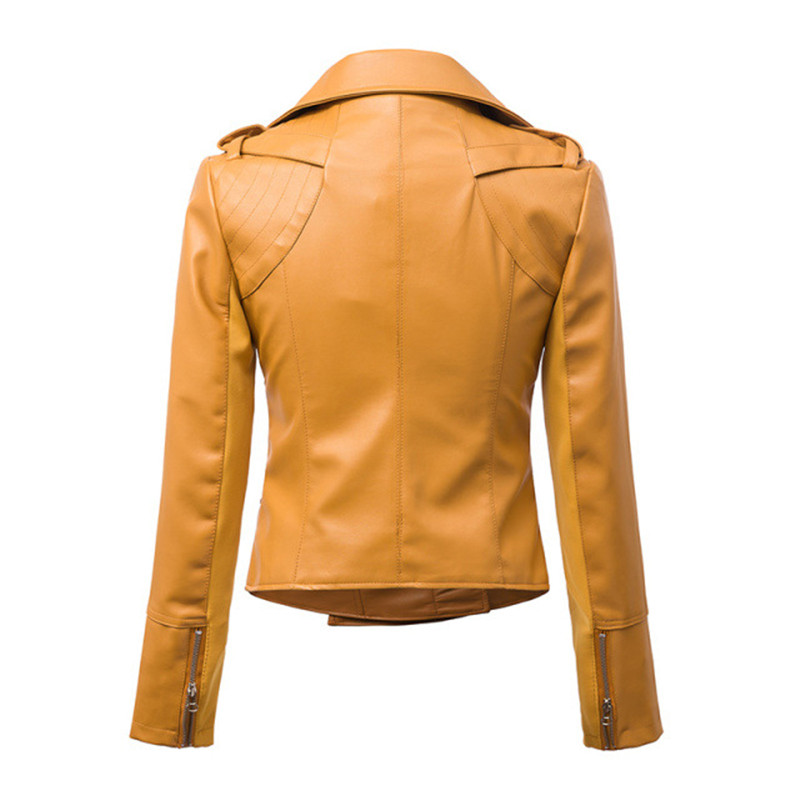 2017 New Fashion Spring Women Brand Faux Soft Leather Jackets PU Black Yellow Zippers Long Sleeve Motorcycle Coat