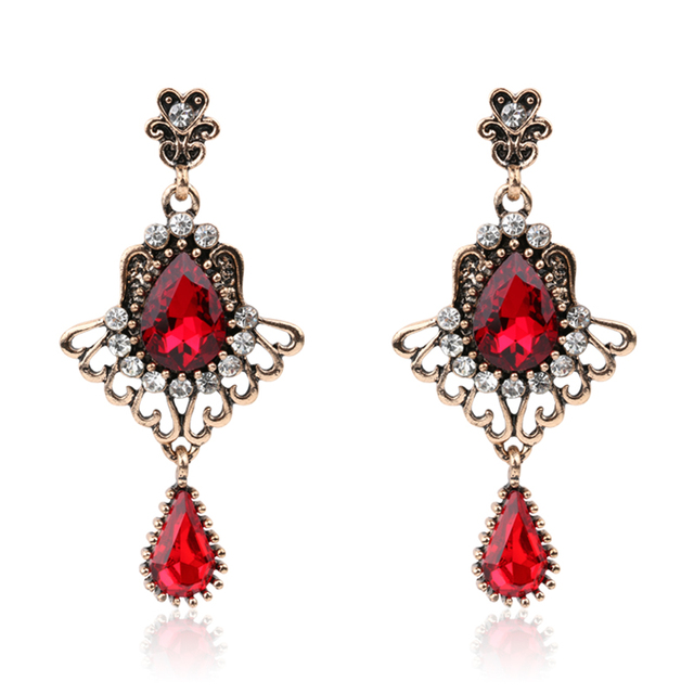 2017 Luxury Turkish Red Gl Earrings For Women Vintage Look Feather Wings Crystal Rose Gold
