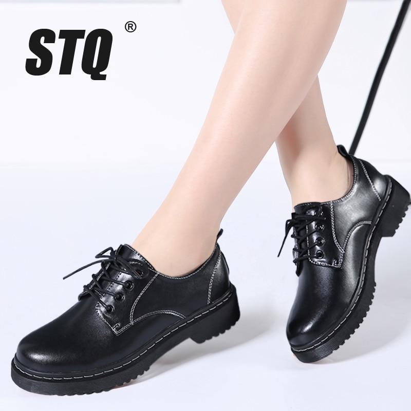 Stq 2018 Autumn Women Oxford Shoes Dress Shoes Flats Women Genuine