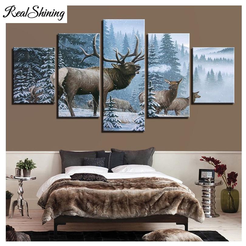 REALSHINING 5D diy Diamond Painting Snow Elks 5pcs Cross Stitch,Full,Diamond Embroidery,Diamond,Mosaic,pattern,beaded FS1358