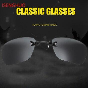 6fd5667ed1 ISENGHUO Clip en la nariz Mini gafas de sol hombres montura de aleación de  Steampunk pequeño gafas de sol negro matriz Morfeo película gafas con caja
