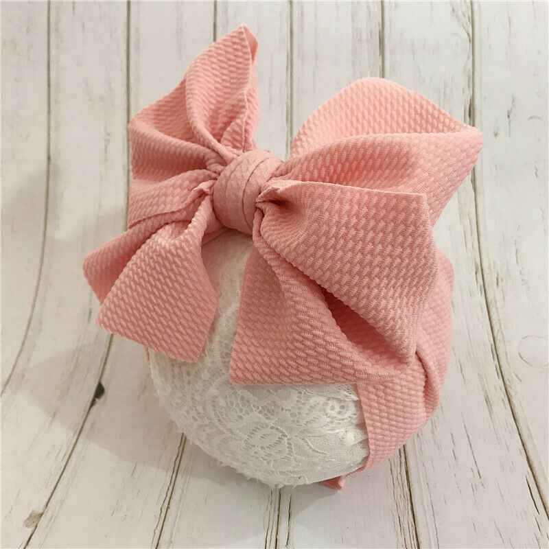 Toddler Baby Girls Big Bow Headband Stretch Turban Knot Head Wraps
