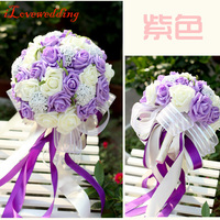 New Arrival Fioletowy/Różowy/Niebieski Kwiat Róży Kobiet Ślubne Bukiety ślubne ze Wstążką Sztuczny Kwiat Róży Bukiet Darmo wysyłka