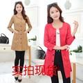 Outono Primavera Mulheres Trench Coat Casuais Veados Nove Pontos Manga Casacos Khaki Rosa Vermelho 9880