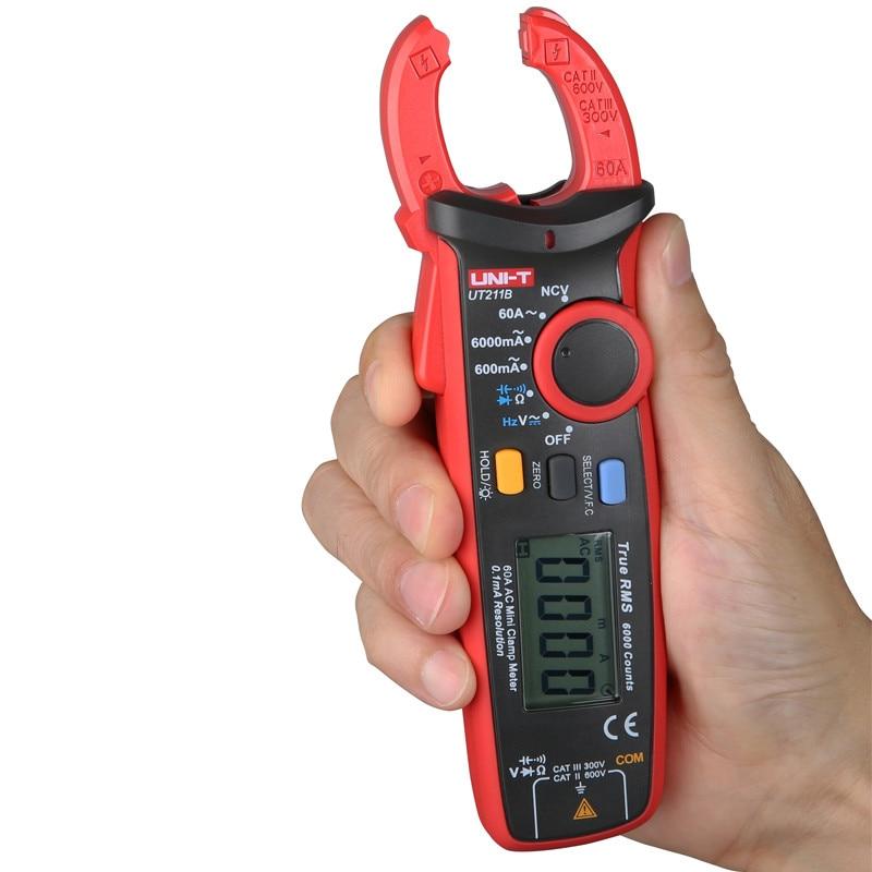 UNI T UT211B 60A Mini Clamp Meter; vero RMS amperometro/VFC/NCV misura, LCD retroilluminato - 2