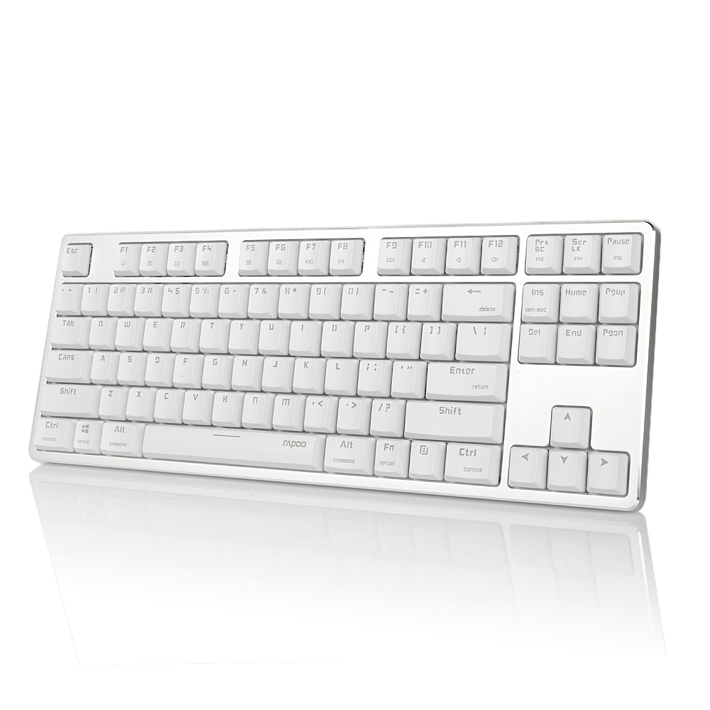 Rapoo MT500 Mechanical Keyboard White Backlit USB Removable Design Anti-ghosting 87 Keys ...