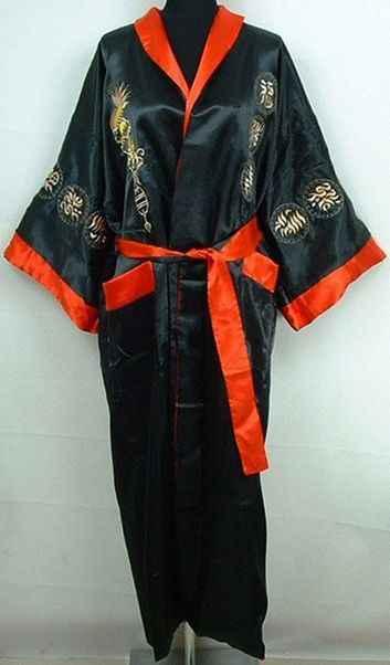 赤黒中国男性可逆シルクローブ刺繍着物浴衣ドレス両面パジャマバスローブナイトウェアワンサイズ MR071