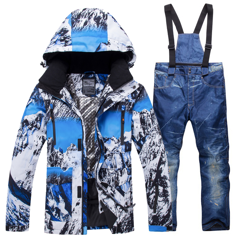 2018 New Winter Ski Suit Men Set Windproof Waterproof Warm Skiing Snowboarding Suits Set Male Outdoor Hot Ski jacket + Pants new ski suit women s winter outdoor waterproof windproof warm thick ski suit jacket pants snowboarding skiing suits sportswear