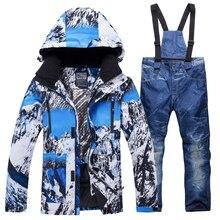 Новинка 2018 года зимний лыжный костюм для мужчин комплект ветронепроницаемая Водонепроницаемая теплая лыжный спорт Сноубординг костюмы мужской Открытый горячая лыж