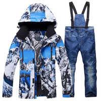 2019 nuevo traje de esquí de invierno para hombre, a prueba de viento, impermeable, cálido, esquí, snowboard, conjunto de chaqueta de esquí caliente para hombre al aire libre + Pantalones
