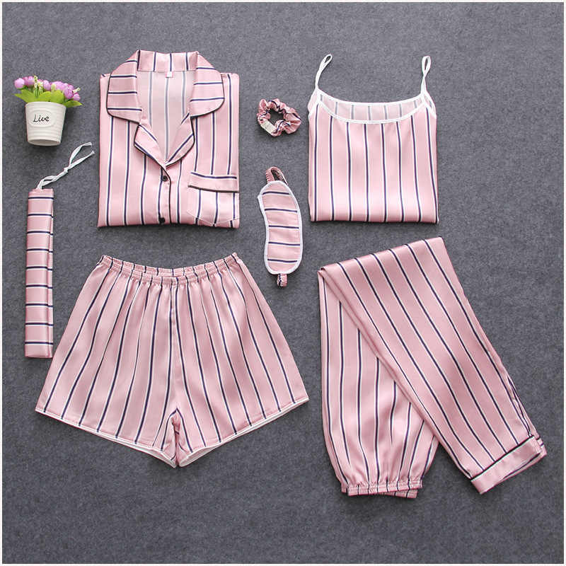 Women's Silk Satin Pijama 7 Pieces Pajamas Sets Striped Print Pyjamas Women Long Sleeve Sleepwear Spring Summer Autumn Homewear
