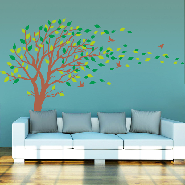 Green Vinyl Tree Wall Decals Leaves Wall Decorations Bedroom Tree Removable Large Tree Wall