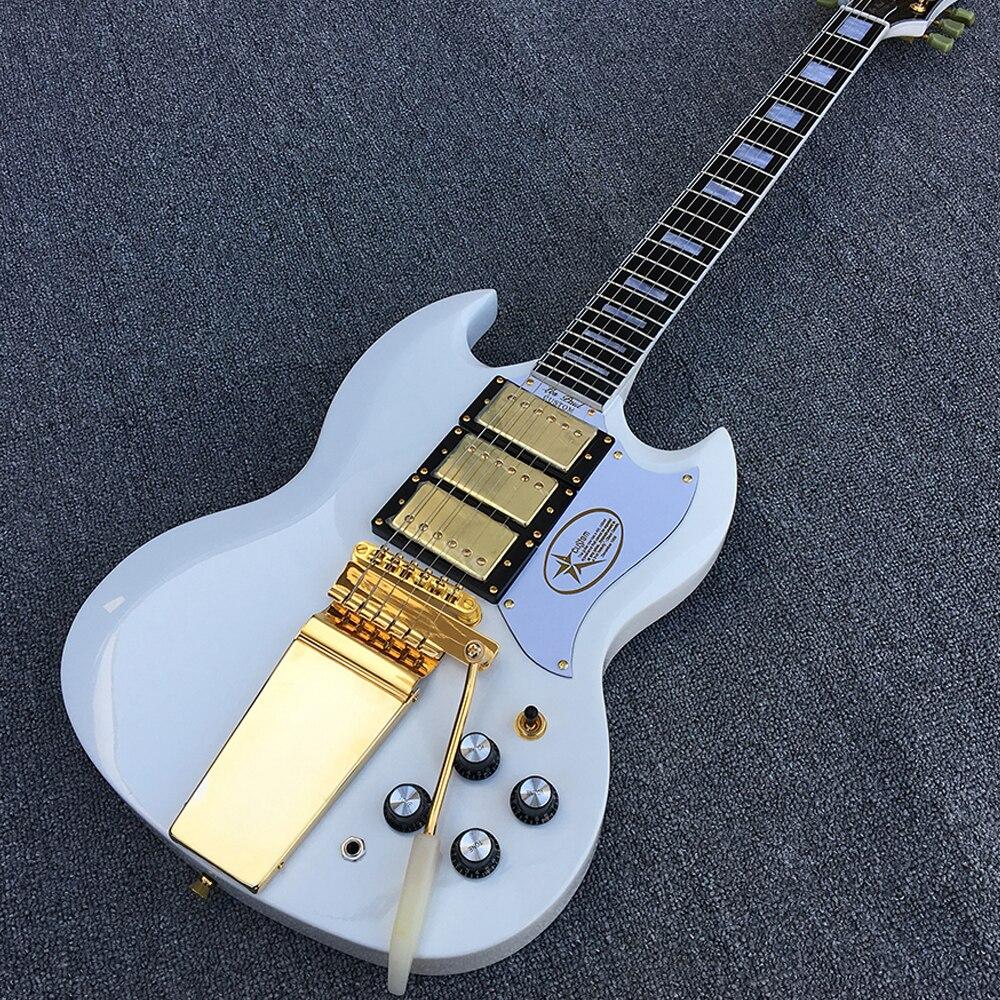 Custom shop, Trois or micros avec Long Verson Maestro Vibrola Électrique guitare avec Pur blanc corps, toutes les Couleurs sont disponibles