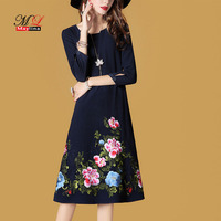 Maylina Spring Autumn Dress Women Embroidery Blue Vintage Casual Medium Long Dress Plus Size Slim Dress