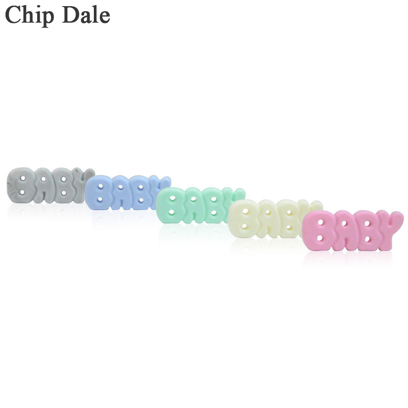 Chip Dale 1Pcs BABY Letter Silicone Teether Beads DIY Necklace Pendant Jewelry Making Newborn Kids Oral Care Products BFA Free