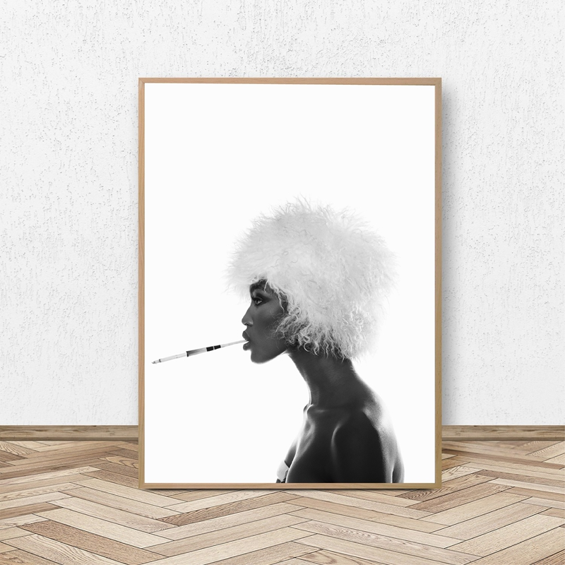 Naomi f2 Fashion Poster Canvas Wall Art Prints afroamericano Black Woman Top Model Painting Girls Room Wall Art Decor