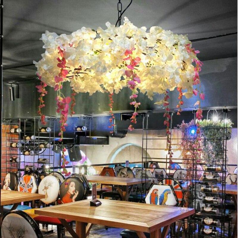 Музыка Бар Люстра литературный комнатный цветок cafe cherry blossom лампы Американский Пастырское Ресторан горячий горшок освещения