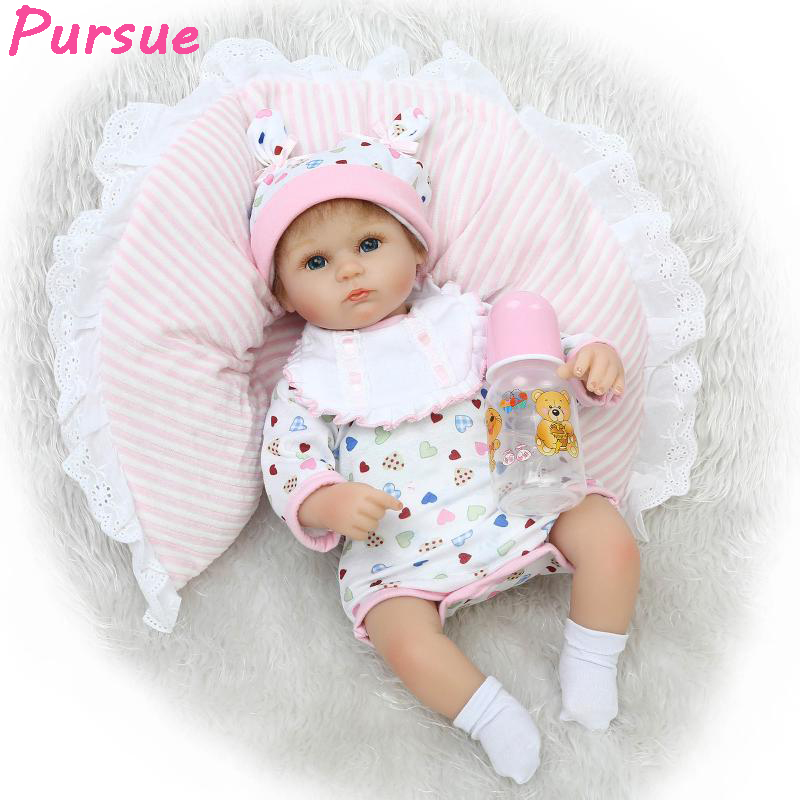 Pursue 17 Reborn Babies Toys American Girl Dolls Silicone Baby Dolls realista Life Like Dolls for Children Doll Christmas Gift