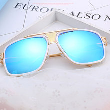 Oversized Superstars Plated Square Men Sunglasses Women 2018 Couple Flat Top Lux