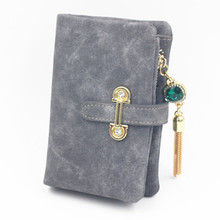 Women Wallets PU Leather Scrub Purse Gem Metal Tassel decorated Fashion Female wallet Cards Money photos holder High Quality