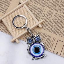 Blue Evil Eye Owl Lucky Tassel Keychain