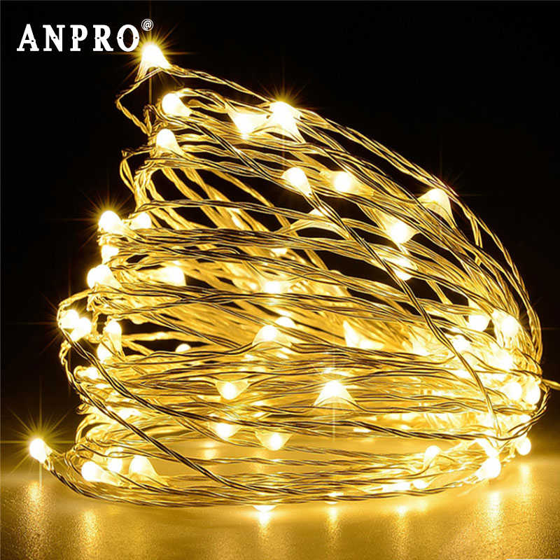 Anpro 2M 3M 4M 15M Led String Light Copper Wire Battery Operated Led Strip Fairy Lights For Christmas Wedding Party Decoration