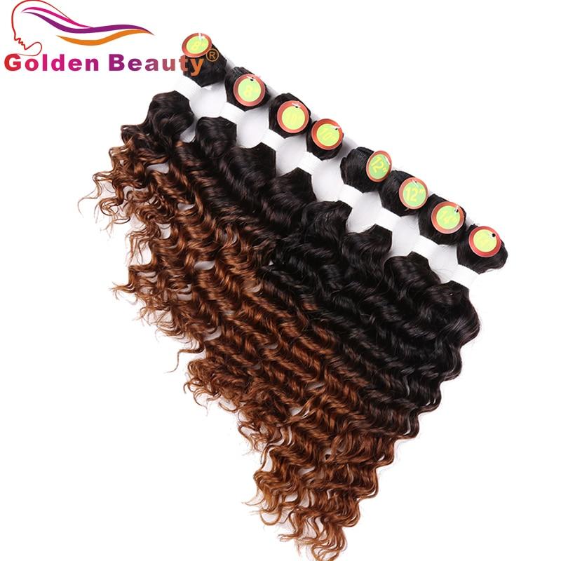 8-14 tums Ombre Deep Wave Hair Bundles 8st / Lot Värmebeständigt - Syntetiskt hår - Foto 3