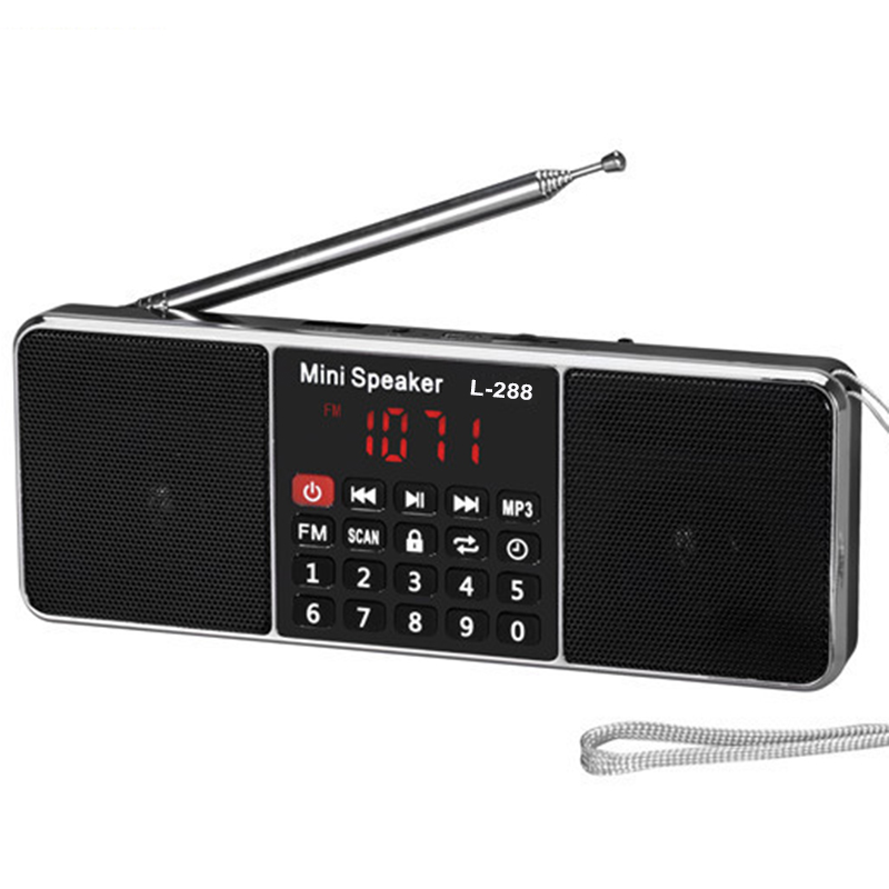 Mini Portable Rechargeable Stereo L 288 FM Radio Speaker LCD Screen Support TF Card USB Disk