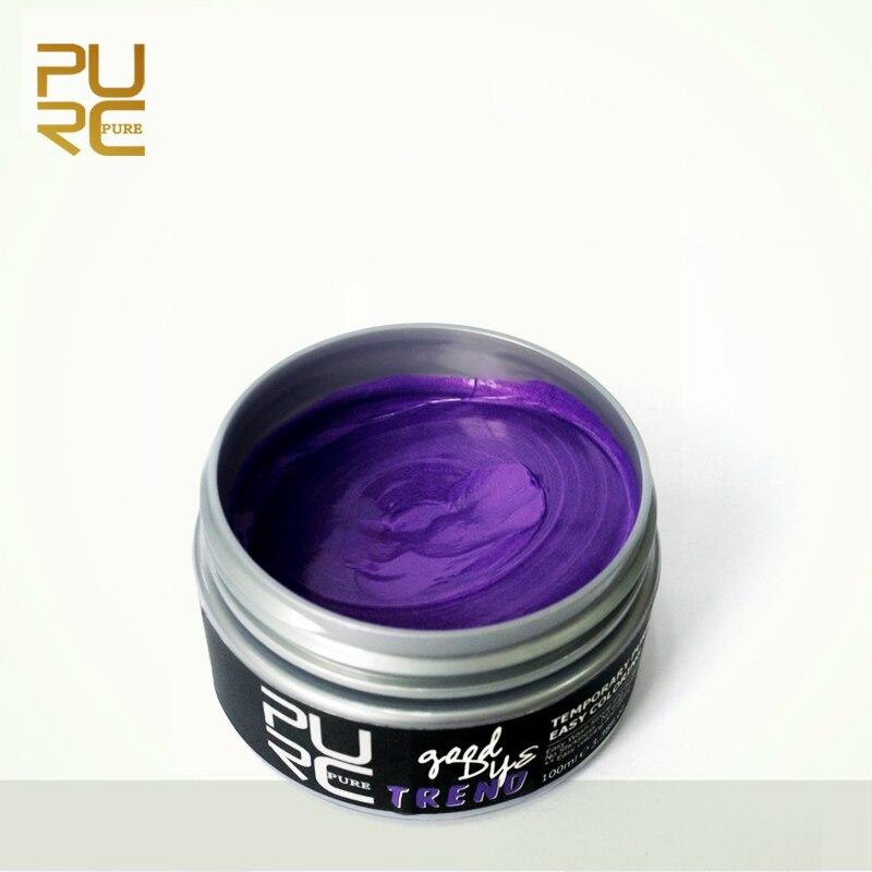 PURC Fashion Style Disposable Hair Colour Dye Temporary Non-toxic DIY Hair Color Cream Washable One-time Hair Dye Wax Purple