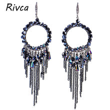 New Design Rivca Drop Chain Tassel Earrings Mixcolor Bohemia Crystal Beads With Tassel Earrings for Women Rated Jewelry(China)