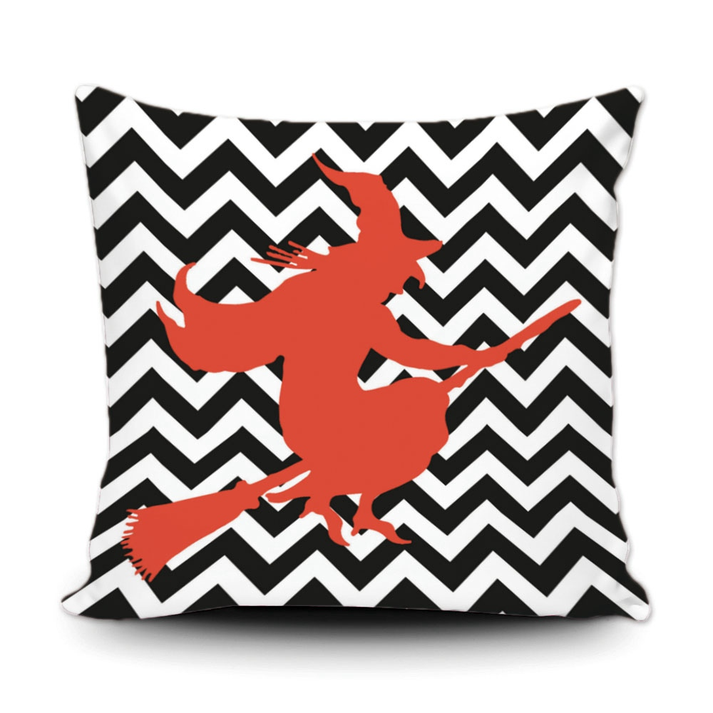 Custom Cute Geometric Cushion Cover Black White Zigzag Stripe Orange  Magical Witch Pillowcase Home Sofa Car