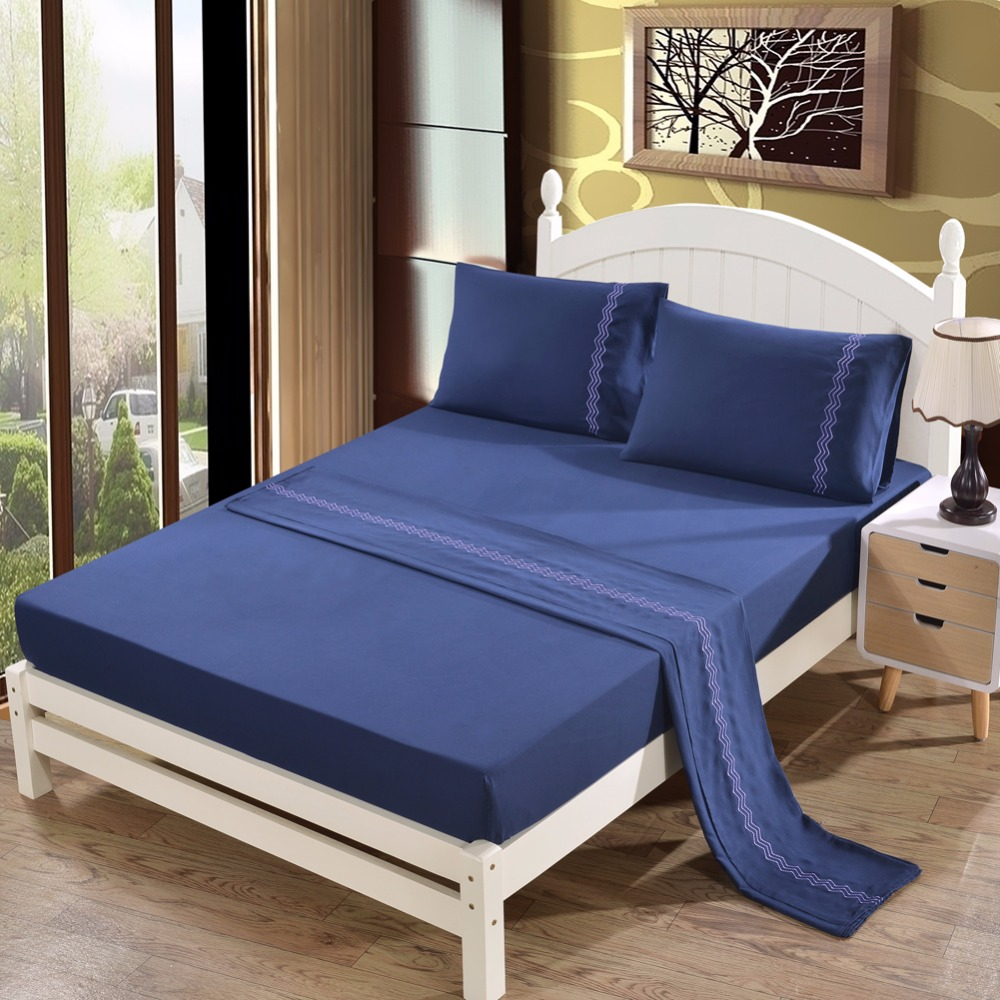 Navy Pure 4Pcs polyester cotton Sheet set Solid Color Embroidered US Queen King Bed Cover Flat Fitted Sheet set 2 shams soft Navy Pure 4Pcs polyester cotton Sheet set Solid Color Embroidered US Queen King Bed Cover Flat Fitted Sheet set 2 shams soft