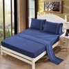 Navy Pure 4Pcs Polyester Cotton Sheet Set Solid Color Embroidered US Queen King Bed Cover Flat