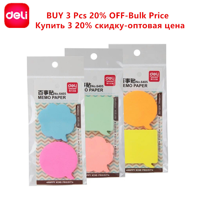 Deli 80 Sheets Sticky Notes NotesSticky Memo Paper Post Notepad Filofax Memo Pads Office Supplies School Index Cute Stationery