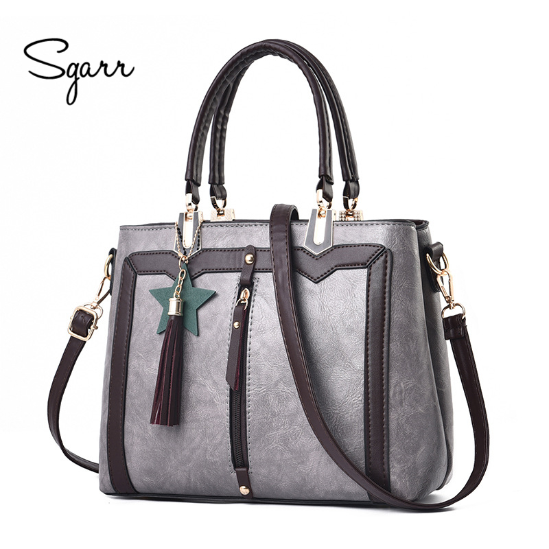 SGARR Luxury Designer Ladies Tote Handbags High Quality Fashion Tessel Shoulder Crossbody Bag PU Leather Patchwork Messenger Bag yingpei women handbags high quality women bag fashion patchwork designer ladies big pu leather lady shoulder bag tote gifts