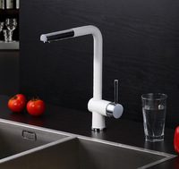 2015 New Design Pull Out Kitchen Faucet 100 Brass Single Hole Sink Taps Thermostatic Mixer White