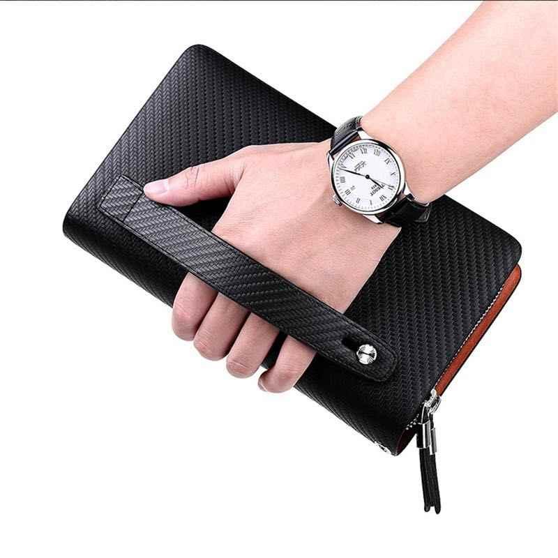 Business Mannen Clutch Tassen Merk Echt Leer Blauw Mode Rits Lange Portemonnee Telefoon Credit Card Houders Handtas pl170