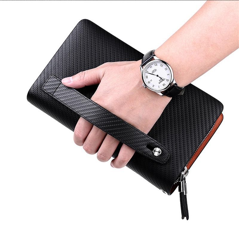 Business Men Clutch Bags Brand Genuine Leather Blue Fashion Zipper Long Wallet Phone Credit Card Holders Handbag pl170