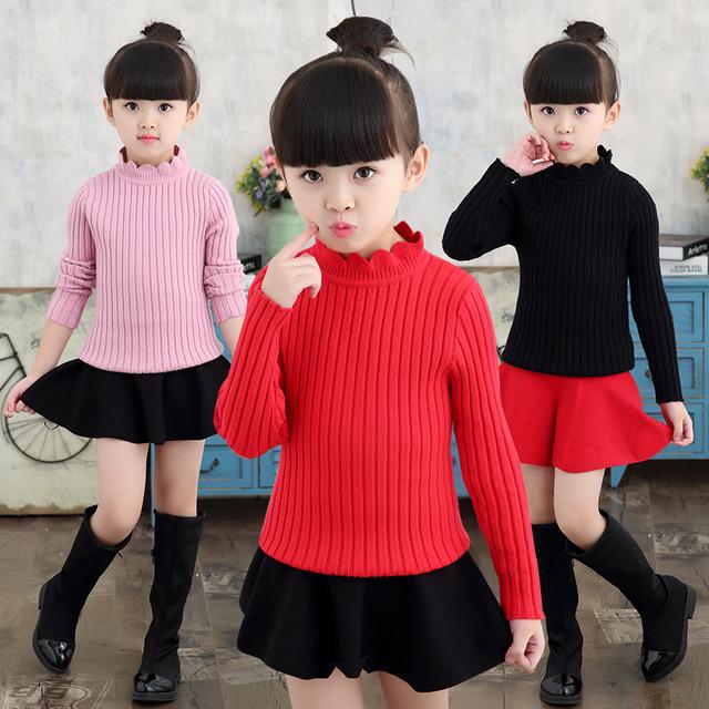 Niñas Collar de Flores de Tocar Fondo Suéteres Suéteres de Punto Para Niñas Nuevo Año trajes de Punto Para Niños Tops 2 3 5 7 8 9 10 años
