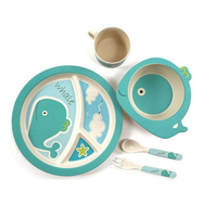 5pcs Set Character Baby Plate Bow Cup Forks Spoon Dinnerware Feeding Set 100 Bamboo Fiber Baby